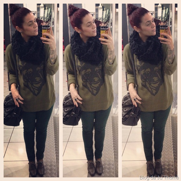 look com calça verde, maxi blusão com estampa, casaco preto e gola (2)