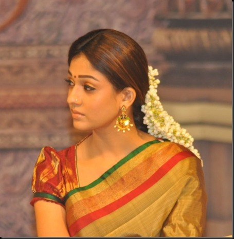 Nayanatara Cute Silk Saree Stills @ Sri Rama Rajyam 50 Days Function 20