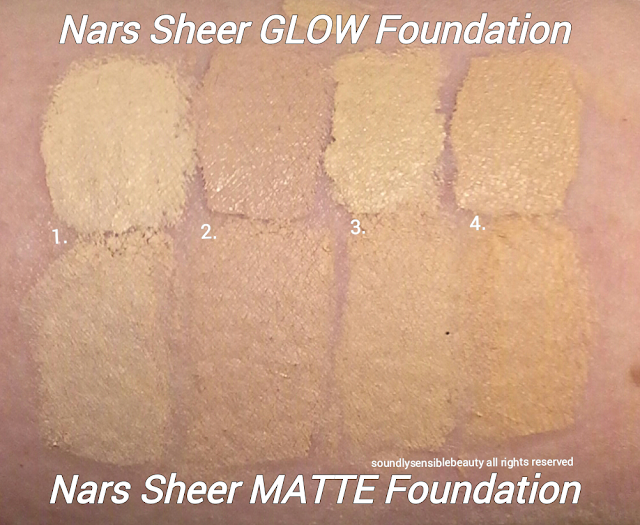 Nars Sheer Glow Foundation; Swatches of LIGHT SHADES, Light 1 Sibereia, Light 2 Mont Blanc, Light 3 Gobi, Light 4 Deauville