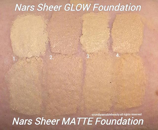 Nars Sheer Glow Foundation; Swatches of LIGHT SHADES, Light 1 Sibereia, Light 2 Mont Blanc, Light 3 Gobi, Light 4 Deauville