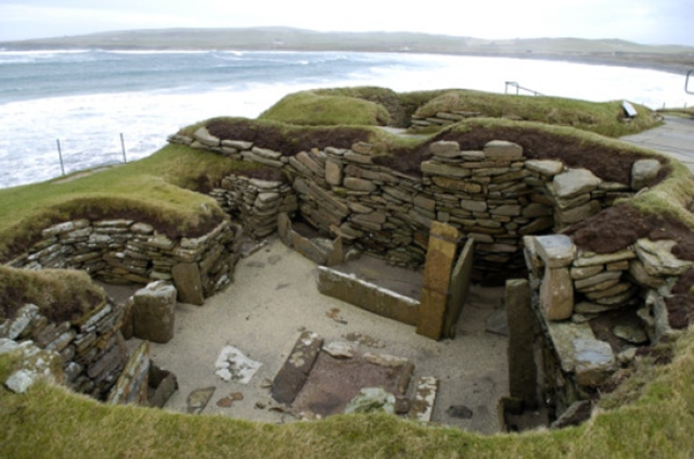 Rising sea levels are threatening the existence of Orkney's famous Stone Age village of Skara Brae. Photo: Jane Barlow