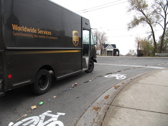 Toronto bike lane made of trash