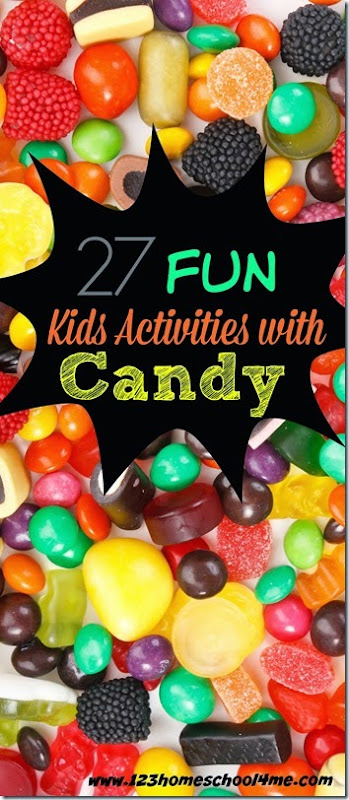 Fun Kids Activities with Candy - lots of candy math, candy science, candy art, and candy kids activities to use up the leftover candy with Preschool, Kindergarten, and elementary age kids.