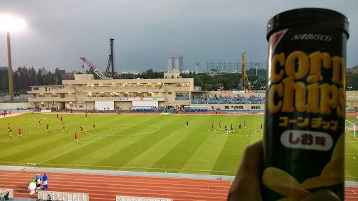 [写真]試合開始前のピッチとおみやげのナビスコCorn Chips