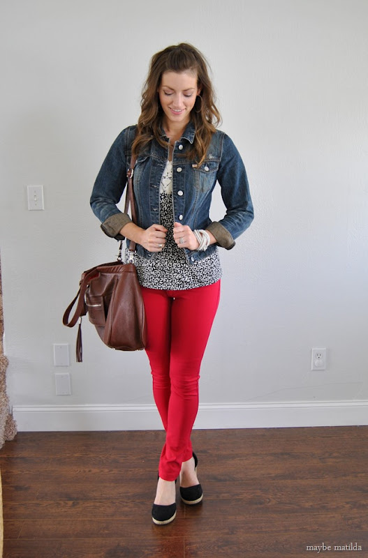 black/white print + denim jacket + red skinnies
