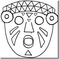 Mscara Azteca para colorear