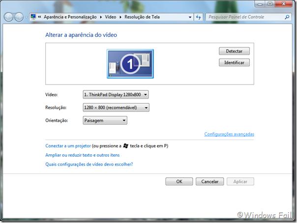 Na janela de Resolução de tela, clique em Configurações avançadas.