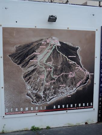 Harta Stromboli - Traseul catre varf