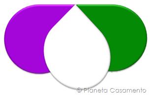 Paleta de Cores - Roxo Verde e Branco - Planeta Casamento