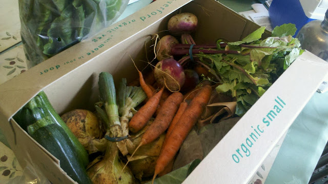 A box of organic vegetables from Riverford Organic home delivery service