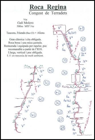 Croquis Terradets - Roca Regina - Gali-Molero 500m MD  6b  Ae (V  A0 Oblig) (romanticguerrer.b)