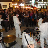 band playing in white suits during nuit blanche in Toronto, Ontario, Canada