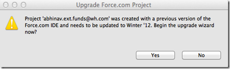 force.com upgrade project to winter'12 dialog