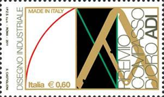 Italian stamp commemorating the Premio Compasso d'Oro ADI.  Issued July 12, 2011.