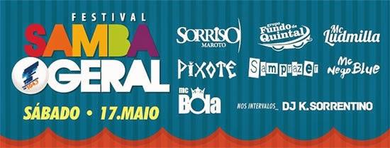 Festival Samba Geral acontece sábado, dia 17, na Estância Alto da Serra