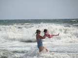 Fun at the beach with mommy. (July)