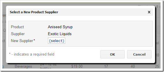 Custom modal form allowing user to select a new product supplier.