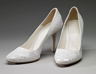 The Duchess of Cambridge's wedding shoes hand-crafted by Alexander McQueen<br />&lt;br/&gt;<br />&lt;br/&gt;The Royal Collection (C) 2011, Her Majesty Queen Elizabeth II.<br />&lt;br/&gt;Images for use ONCE and ONLY in connection with the Summer Opening of Buckingham Palace, 23 July - 03 October 2011. Images must not be archived or sold-on. <br />&lt;br/&gt;