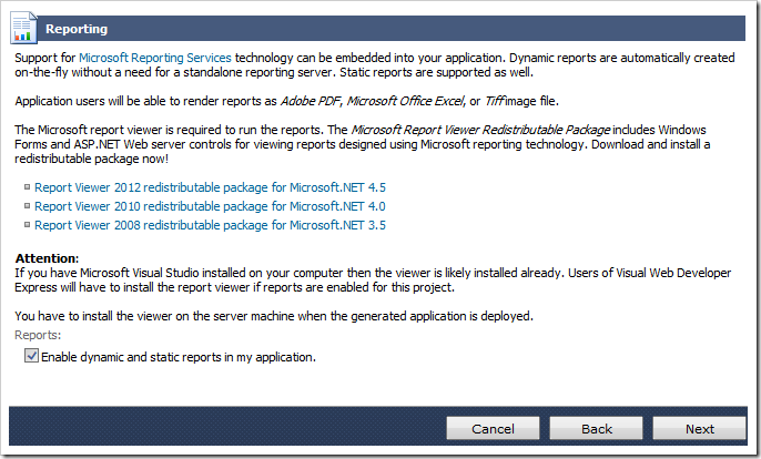 Enabling reports in the web app.