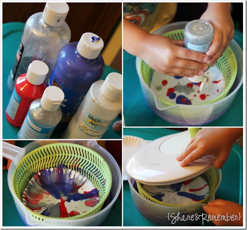 4th of July Spin Art Craft steps