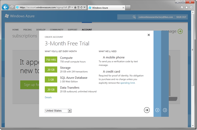 Details of the Windows Azure 3 month free trial