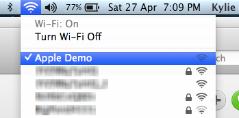 "My wife's MacBook Air connected to the ""Apple Demo"" rogue network"
