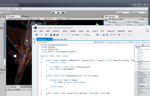 Coding Unity projects in Visual Studio. Yes that's Blackstorm Alpha in the background!
