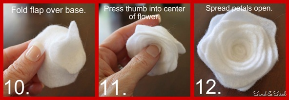felt flower tutorial step 10,11,12