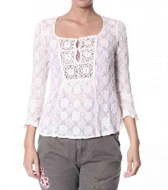 #575 Chiffon blouse chalk