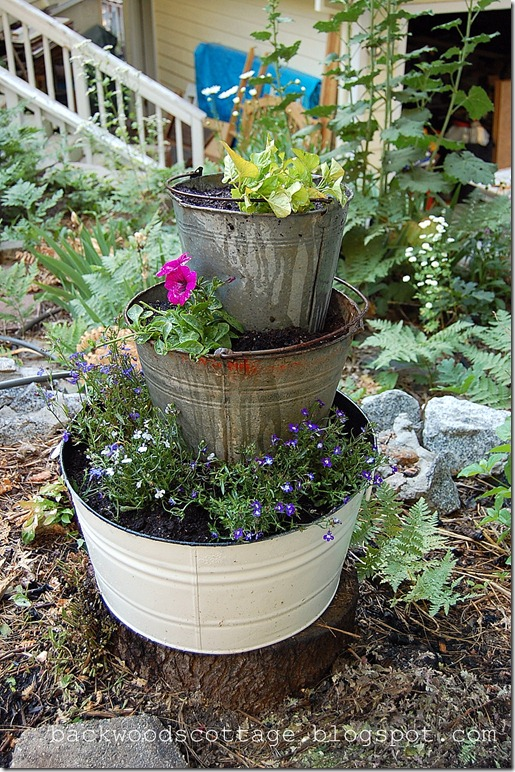 stacked bucket planters