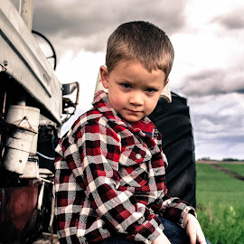 who me by Kimberly Mehrer - Babies & Children Child Portraits ( sky, antique, tractor, boy, portrait )