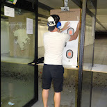 hanging up targets at the Niagara Gun Range in North Tonawanda, New York, United States