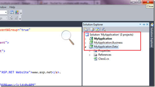 MyApplication- Nuget with multiple projects. www.dotnetjalps.com