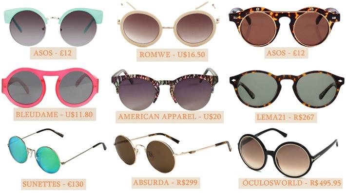 óculos armação redonda moda