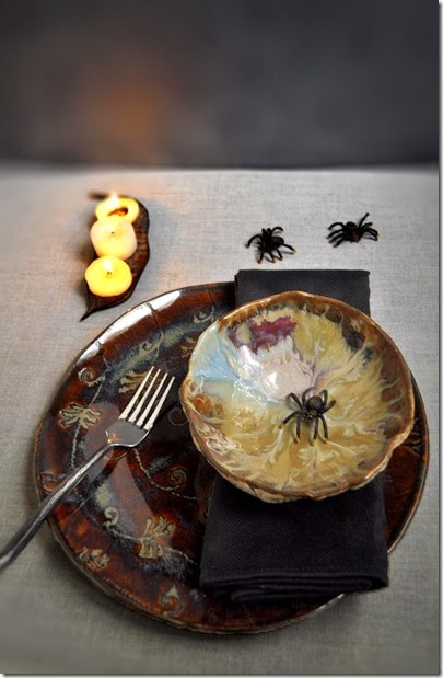 Lee Wolfe Pottery Halloween setting