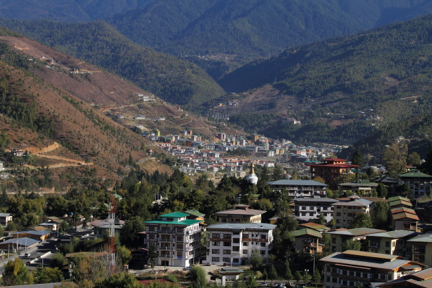 Sunset view of Thimphu from Changangkha Lakhang