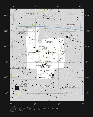 localização de Betelgeuse na constelação de Órion