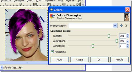 GIMP Colora Tonalità, Saturazione e Luminosità