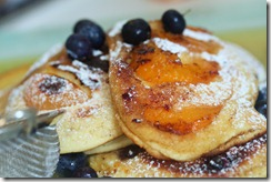 Sweet blinis with fruits