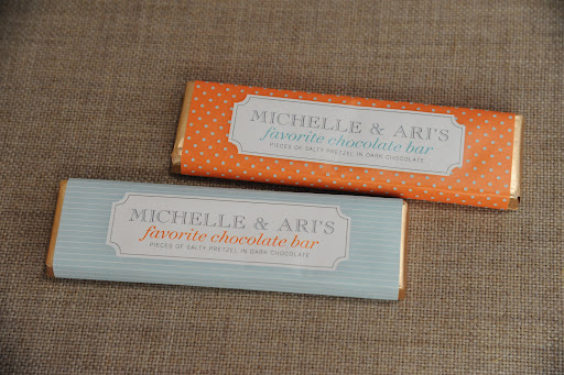 Chocolate bar favors inspired by the ones from Michele Cosentino and Ari Greenman's spring 2006 wedding. These are from Economy Candy (www.economycandy.com).
