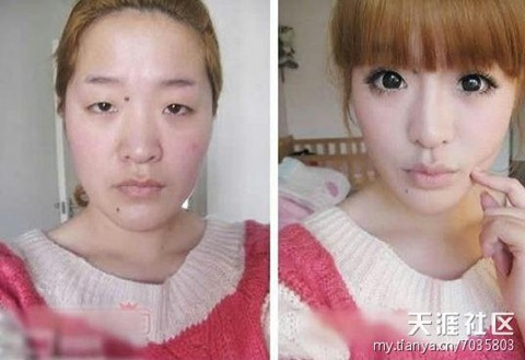 chinese girls makeup before and after  (5)