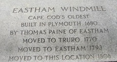 Cape Cod Eastham windmill placque