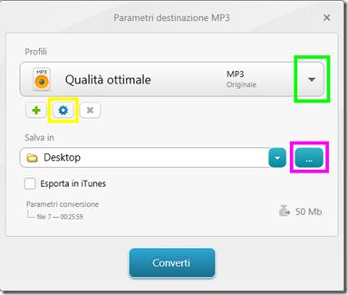Freemake Audio Converter Parametri di conversione