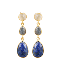 Jewlscph - 211513 - 24 kt. gold - forgyldt sølv - Lapis lazuli, labradorit, hvid månesten - DKK 2199