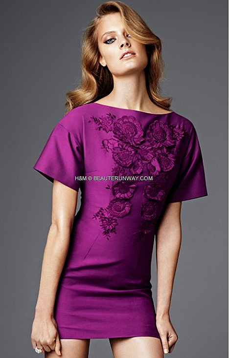 H&M SPRING 2012 CONSCIOUS COLLECTION EXCLUSIVE GLAMOUR  Purple organic cotton mix mini dress  tone on tone red carpet fashion