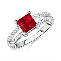 Square Ruby and Round Diamond Split Shank Ring