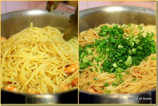 Adding linguine and green onions to shrimp scampi