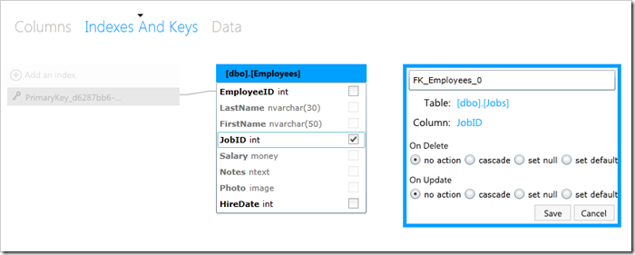 Foreign key relationship between Jobs and Employees table created in HR database using SQL Azure database management web app