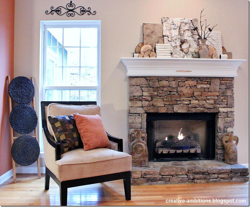 Natural Rustic Winter Mantel LR