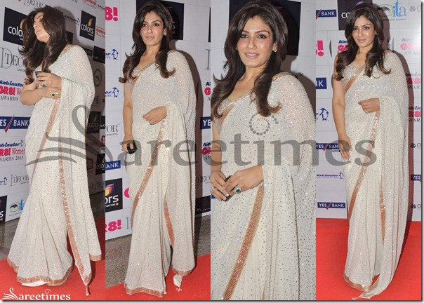 Raveena_Tandon_White_Embroidery_Saree